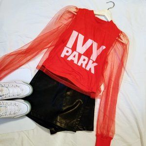 IVY PARK Red Festival Tulle Crop Top︱Size S